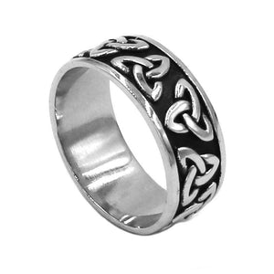 Celtic Triquetra Ring Stainless Steel Dark Trinity Knot Band