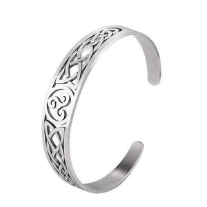 Celtic Triskelion Bracelet Silver Stainless Steel Triskele Cuff Bangle