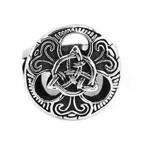 Celtic Warrior Shield Ring Silver Stainless Steel Ainle Laoch Band