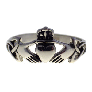 Stainless Steel Irish Claddagh Ring With Trinity Knots Front