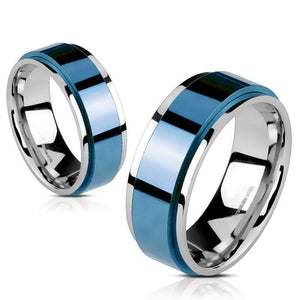 Classic Blue Spinner Ring Stainless Steel Anti-Anxiety Fidget Band