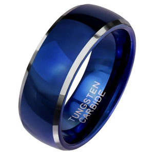 Classic Royal Blue Tungsten Ring Anniversary Wedding Band for Him