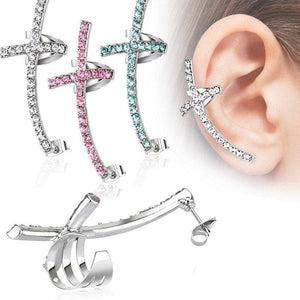 Cross Ear Crawler Pink Blue Cubic Zirconia Crucifix Earring Stainless Steel