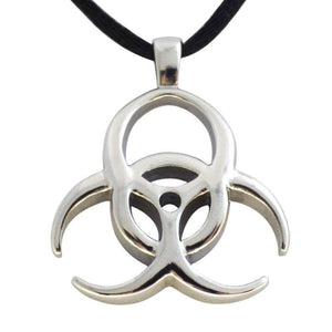 Cyberpunk Biohazard Stainless Steel Pendant - Cybergoth Necklace