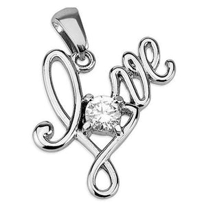 CZ Stone Love Necklace Cubic Zirconia Stainless Steel Pendant
