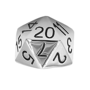 D20 Ring Large Stainless Steel RPG Icosahedron Dice Band D&D