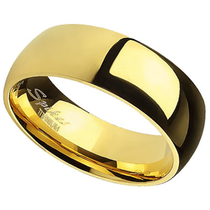 Domed Gold Titanium Ring - Men's and Women's 6mm Wide Wedding Band
