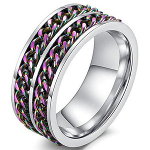 Double Rainbow Chain Spinner Ring Stainless Steel Anti-Anxiety Fidget Band