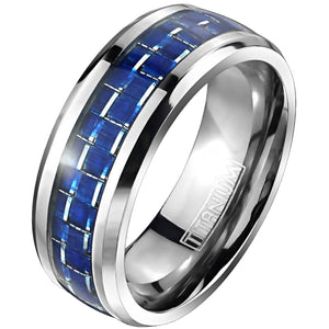 Titanium Ring for Men With Electric Blue Carbon Fiber