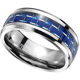 Electric Blue Carbon Fiber Titanium Ring for Men - 8mm Comfort Fit 2