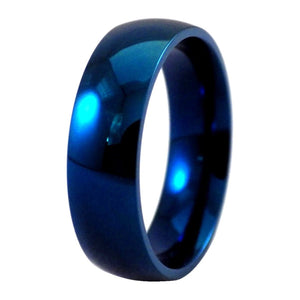 Blue Wedding Rings 6mm Wide Stainless Steel Band