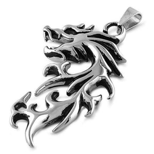 Fire Dragon Stainless Steel Pendant Fantasy Necklace