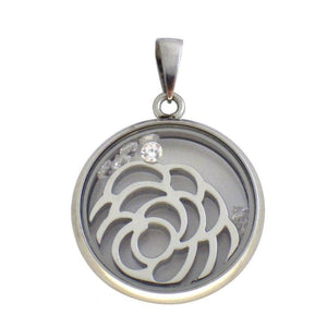 Floating CZ Stone Rose Necklace Stainless Steel Locket Charm Pendant 1