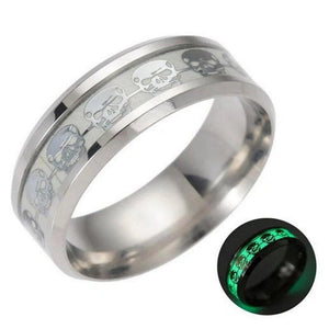 Glow in the Dark Modern Skull Ring Stainless Steel Gothic Wedding Band