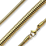 Gold Stainless Steel Snake Serpentine Chain Necklace 2.5mm-4mm