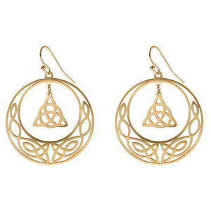 Gold Celtic Circle Trinity Knot Earrings Stainless Steel