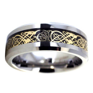 Gold Celtic Dragon Tungsten Ring | Black Carbon Fiber Wedding Band 1
