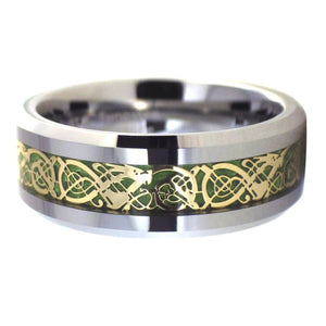 Gold Celtic Dragon Tungsten Ring  Green Carbon Fiber Inlay