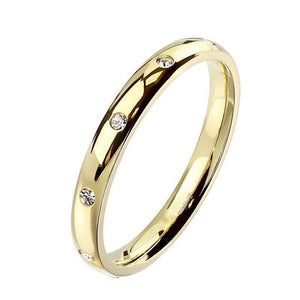 Gold Eternity Anniversary Ring Stainless Steel Cubic Zirconia Wedding Band