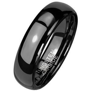 Gothic Black Tungsten Ring 6mm Wedding Band Handfasting 1