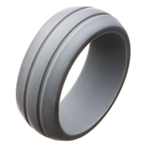 Gray Silicone Ring Flexible Rubber Wedding Band