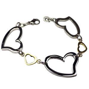 Heart Charm Bracelet for Her Gold Silver Stainless Steel Bangle