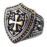 Heater Shield Stainless Steel Men's Cross Ring