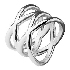 Double X Criss Cross Stainless Steel Ring
