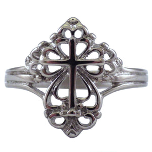 Shiny Silver Women's Stainless Steel Cross Ring