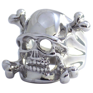 Jolly Roger Army Helmet Skull and Crossbones Stainless Steel Ring