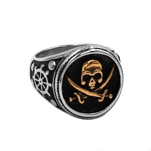 Jolly Roger Signet Ring Stainless Steel Nautical Pirate Skull Band
