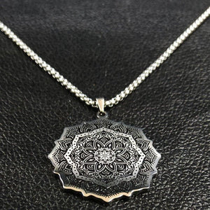 Mandala Necklace Silver Stainless Steel Spiritual Meditation Pendant