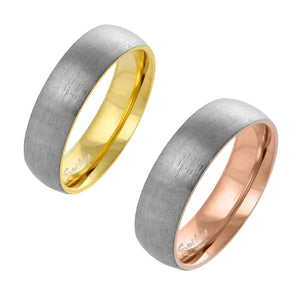 Matching Brushed Silver and Gold Domed Titanium Wedding Bands