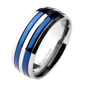 Matching His and Hers Silver and Electric Blue Titanium Wedding Bands