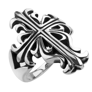 Medieval Gothic Cross Stainless Steel Ring - Large Wrap Around Band