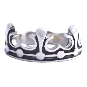 Medieval Princess Tiara Crown Stainless Steel Ring w/Fleur De Lis Tips