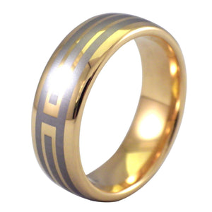 Men's 18K Gold and Silver Tungsten Ring - Domed Wedding Band
