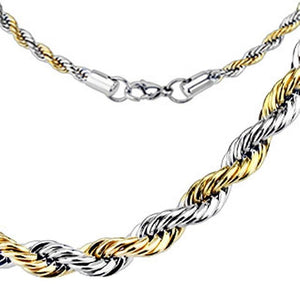 Men's and Women's Silver with Gold Rope Chain Necklace
