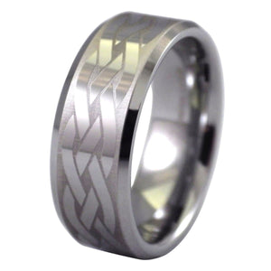 Men's Beveled Edge Celtic Knot Tungsten Ring