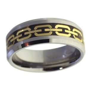 Men's Beveled Edge Gold Chain Inlay Tungsten Ring