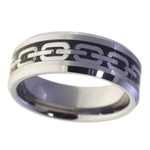 Men's Beveled Edge Silver Chain Inlay Tungsten Ring