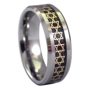Men's Beveled Edge Tungsten Ring with Gold Star of David Inlay