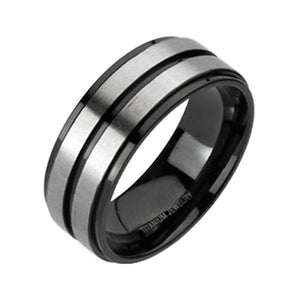 Mens Classic Two Tone Black Steel Titanium Ring Wedding Band
