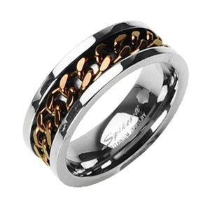 Men's Dark Copper Coffee Titanium Chain Spinner Ring