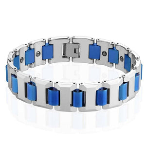 Mens Electric Blue Tungsten Magnetic Link Bracelet Modern Cuff Bangle