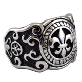 Men's Fleur de Lis Shield Ring of Protection