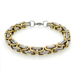 Mens Gold Silver Stainless Steel Byzantine Chain Bracelet 9in 8mm
