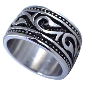 Men's Hawaiian Makau Tribal Hook Stainless Steel Ring