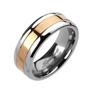 Men's Rose Gold and Silver Titanium Ring - Two-Tone Wedding Band