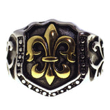 Men's Silver and Gold Stainless Steel Fleur de Lis Royal Signet Ring